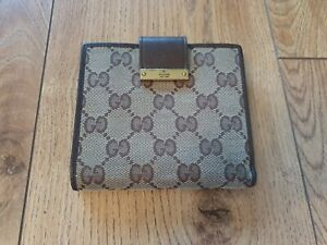 Men's Gucci GG Design Canvas & Leather Card & coin Wallet in Beige/ Brown