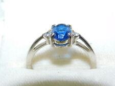 Vintage Avon White gold or Silver tone Sapphire Blue Rhinestones Ring size 9