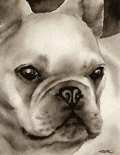 French Bulldog Art Print Sepia Watercolor Painting by Artist DJR