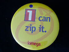 "Large Iomega I CAN ZIP IT Pin Badge Pinback Round 3.5"" Zip Drive Logo Promo EUC"