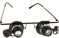 New 10X Hand Free Dual Illuminated Loupe On Eye Glass Frame MG1312S US SELLER