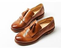 Women Retro Slip On Leather Tassel Wing Tip Carved Brogue Dress Loafer Shoes U43