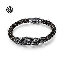 Silver bracelet bikies chain stainless steel skull crown snake black silicon new