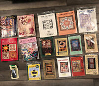 Huge Lot 11 Quilt Patterns and 4 Books plus Bias Tape Maker Block Design Mirrors