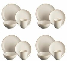 16Pc Complete Dinner Set Stoneware Crockery Kitchen Service Plates Bowls Mug Set