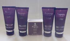 New ASPREY Purple Water 5pc Shampoo Conditioner Gel Lotion Soap Travel Set