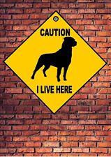 Rottweiler Beware of the Dog  Design Metal Door Gate Sign I Live Here Sign