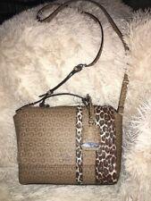 1d4e3382a825 GUESS Handbag Swim Mocha Multi Logo Shoulder Tote Purse Crossbody New