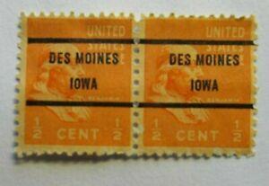 PAIR Sc # 803 ~ 1/2 cent Ben Franklin Issue, Precancel, DES MOINES IOWA