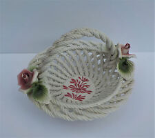 VINTAGE CAPODIMONTE CERAMIC WOVEN FLORAL BASKET CANDY DISH WITH ROSES ITALIAN