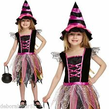 Girls Witch Costume 10 11 12 years Pretty Cute Pink Halloween Fancy Dress