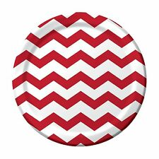"8 Classic Red White Chevron ZigZag Birthday Party Large 9"" Paper Lunch Plates"