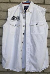 Harley Davidson Sz L White W/Logo & Pockets Button Up Sleeveless Shirt