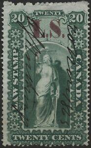Canada VanDam #OL33 20c green Ont Law Stamp (LS overprint) used (1864)