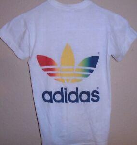 vintage 1980s Adidas Rainbow t shirt size XS