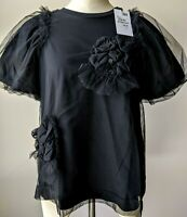 Simone Rocha Dreamy Floral Embellished Tulle Overlay Puff Sleeve T-shirt L$485