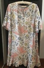 Ann Taylor Loft Sparkle Floral Chiffon Shift Dress NWOT size L