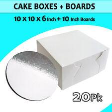 Cake Boxes 10 x 10 x 6 20 P/c + 20 P/c Cake Boards 10 Inches Round Silver Bulk