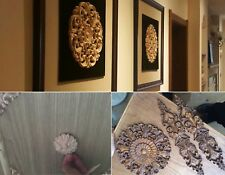 Carved Wood Appliques for Furniture Flower Wood Carving Decals Decorative Wooden