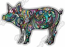 "Cheerful Pig Boar Bacon Abstract Colorful Car Bumper Vinyl Sticker Decal 5""X4"""