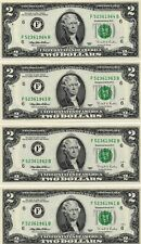 4- 1995 $2  FEDERAL RESERVE NOTES, CRISP, UNCIRCULATED, CONSECUTIVE NUMBERS