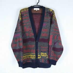 RIQUE DESSALI Vintage Mens Italy Buttons Front Wool Cardigan Jumper SIZE Large
