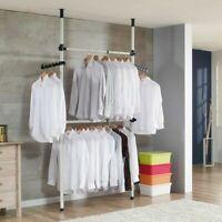 2x2 Heavy Duty Adjustable Garment Rack Clothing Pole Closet Rod Organizer IVORY