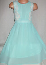 GIRLS VINTAGE STYLE MINT CHIFFON LACE TRIM SPECIAL OCCASION PARTY DRESS age 3-4