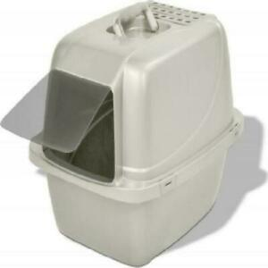 Cat Litter Box Pan Enclose Hood Covered Kitty House Clean with Odor Filter Large