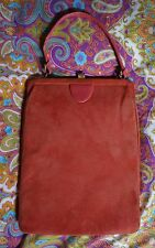Vintage Suede Leather Coral Handbag Purse Bag 1950s 1960s Pink EUC