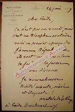 L.A.S 1879 Anatole DE LA FORGE lettre autographe à Emile DESCHANEL - Journaliste