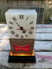 VINTAGE LAVA LAMP TIKI BAR STYLE BUDWEISER BEER LIGHTED CLOCK LANSHIRE ELECTRIC