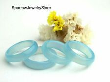 Blue chalcedony ring Solid stone band Carved gemstone boho ring Gift for her