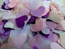 Lilac Pink Purple White Ivory Tissue Hearts Wedding Confetti Bio  FILL CONES