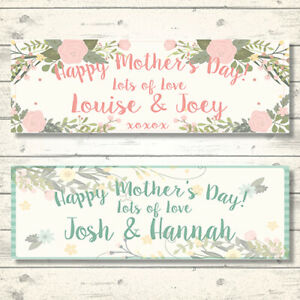 2 PERSONALISED MOTHER'S DAY BANNERS - ANY NAME - ANY MESSAGE