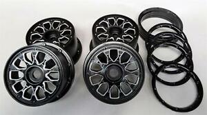 1/5 Baja 5B ALLOY Wheel Set Black Stealth 24mm Hex 5B PRC HPI Rovan KM