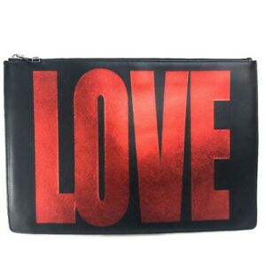 GIVENCHY Pouch LOVE Clutch bag Leather Black