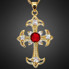 Stunning! Cross Cut Red Ruby Gold Tone Pendant Necklace Lady Xmas Jewelry