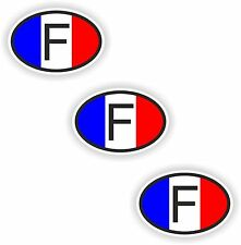 3x Oval Flag Stickers France Small Country Code Laptop Tablet Smartphone Case
