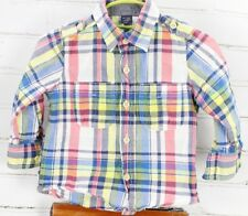 BABY GAP Plaid Long Sleeve Shirt Button Down Toddler 12-18M Summer White Denim