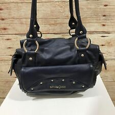 PATRICK COX Navy Genuine Leather Studded Bowler Style Handbag 13029