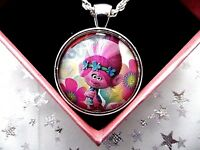 TROLLS POPPY PINK PHOTO SILVER NECKLACE 18 INCH CHAIN GIFT BOX BIRTHDAY PARTY