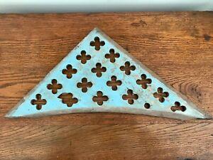 Architectural Salvage Antique Wood Pediment Victorian Gingerbread Clovers Blue