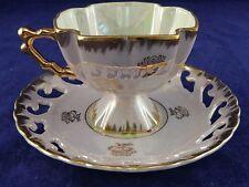 Opalescent Lavender Square Pedestal Tea Cup and Lace Cut Saucer Gold Trim