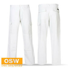 MENS WHITE COTTON DRILL PAINTER GYPROCK TRADIES WORK TROUSERS MULTI POCKET PANTS