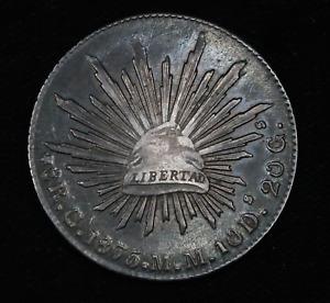 1875 Republica Mexicana Libertad Silver Coin 8 Reales 90% Silver