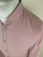 Mens Ted Baker Floral Aztec Geo Shirt Red 3 Medium 40 Chest Elvied