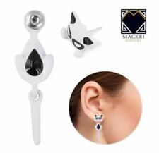 MACKRI Animal Earrings Sasha Cat Stainless Steel Stud Earrings WHITE