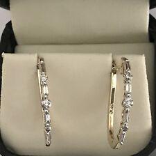 "Beautiful 10k Yellow Gold 0.50ctw Diamond Hoop Earrings 1"""