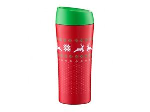 THERMAL MUG 400ml Travel Tumbler Cup INSULATED DOUBLE WALL Coffee TEA RED